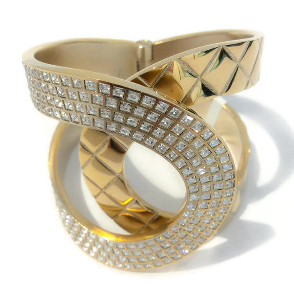 Gold Tone and Crystal Interlocking CC Hinge Bracelet by Chanel front