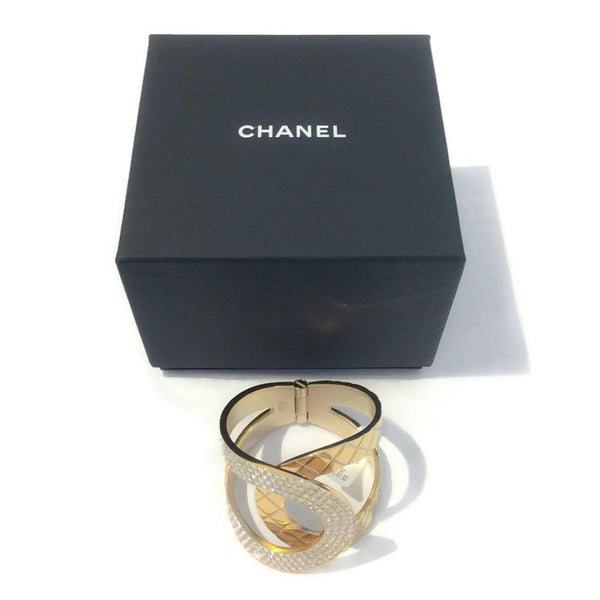 Gold Tone and Crystal Interlocking CC Hinge Bracelet by Chanel with box