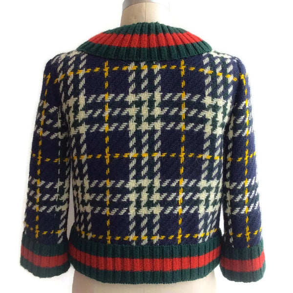 Cropped Plaid Wool Jacket by Gucci back