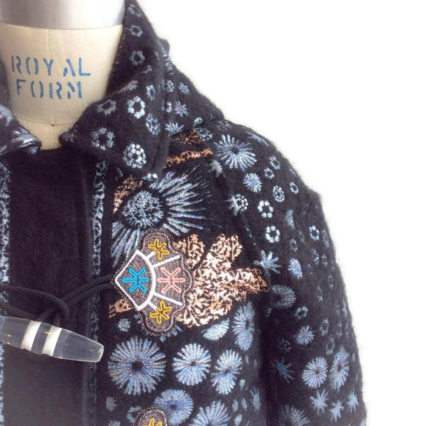 Mohair Embroidered Coat by Peter Pilotto shoulder