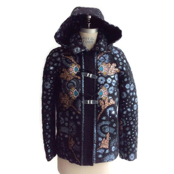 Mohair Embroidered Coat by Peter Pilotto with hood