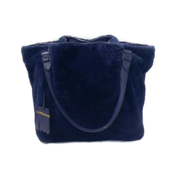 Flower Navy Blue Fur Satchel by Tod's