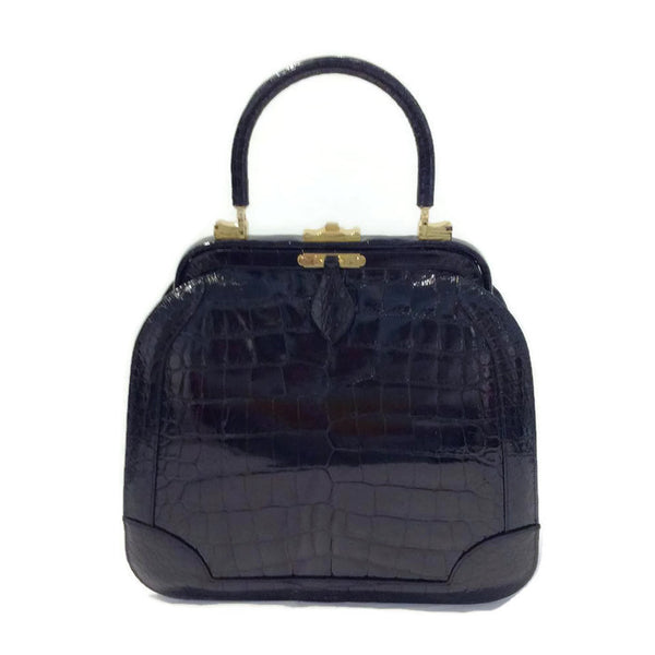 Black Croc Satchel by Judith Leiber
