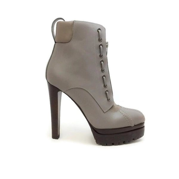 Lug Sole Zipper Grey Boots by Sergio Rossi outside