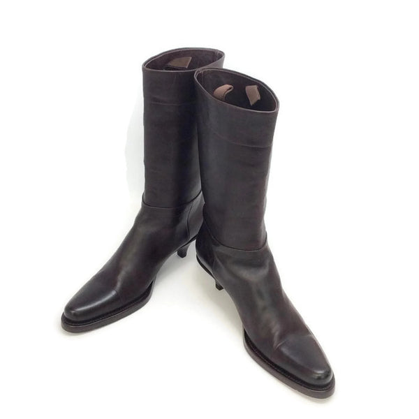 Kitten Heel Brown Boots by Prada pair