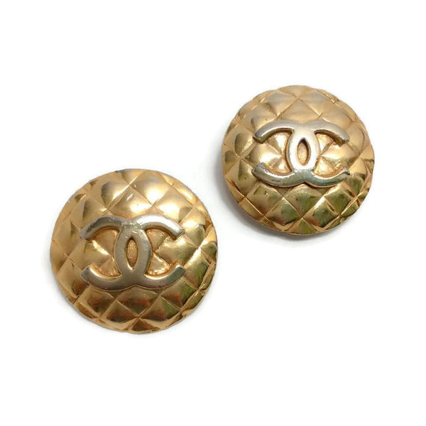 Vintage 1960's Quilted Gold Circle Earrings by Chanel