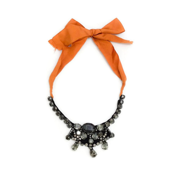 Crystal Bib Necklace with Orange Ribbon Tie by Vera Wang