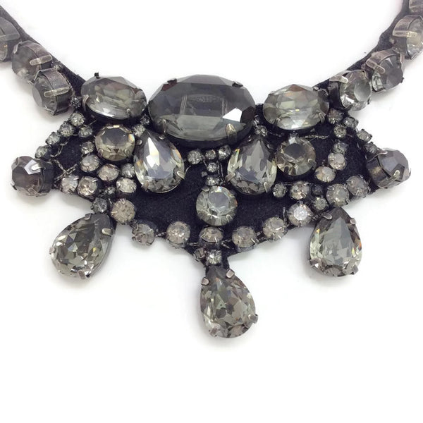 Crystal Bib Necklace with Orange Ribbon Tie by Vera Wang detail