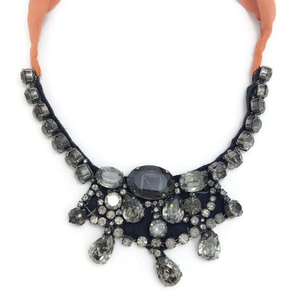 Crystal Bib Necklace with Orange Ribbon Tie by Vera Wang front