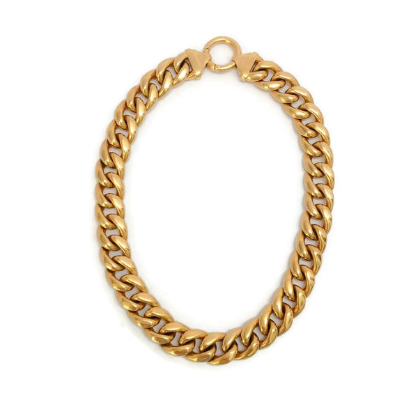 Gold Curb Chain Link Choker by Céline