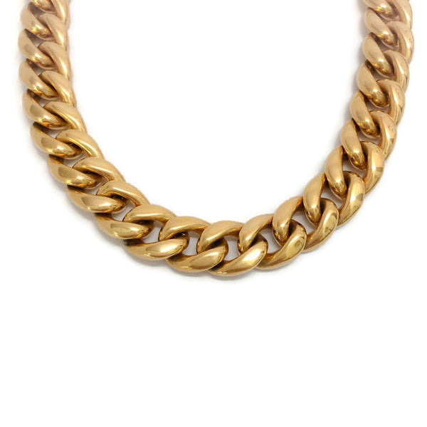 Gold Curb Chain Link Choker by Céline detail