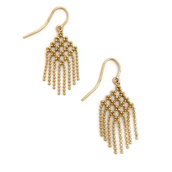 18k Gold Fringe Drop Flower Beads Earring by Tiffany & Co.
