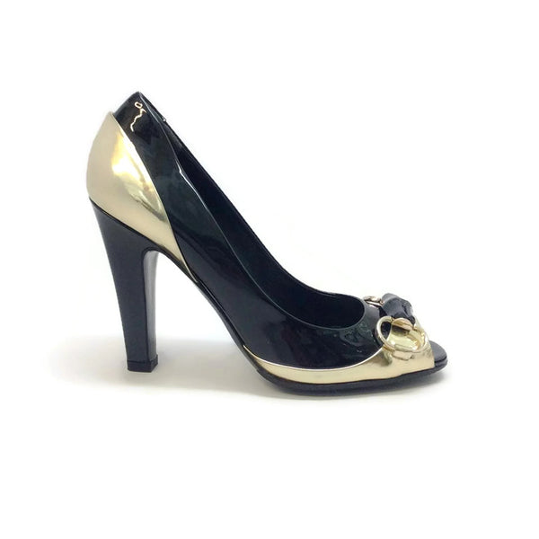 Patent With Bamboo Bit Black / Gold Pumps by Gucci outside