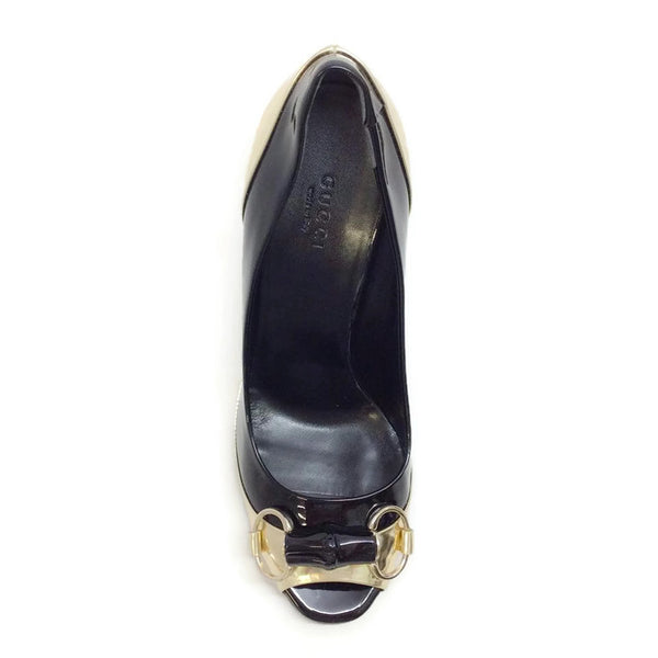 Patent With Bamboo Bit Black / Gold Pumps by Gucci top