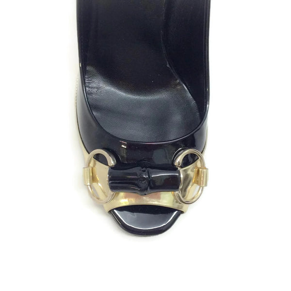 Patent With Bamboo Bit Black / Gold Pumps by Gucci toe