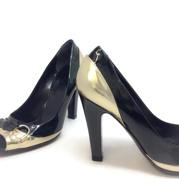 Patent With Bamboo Bit Black / Gold Pumps by Gucci detail