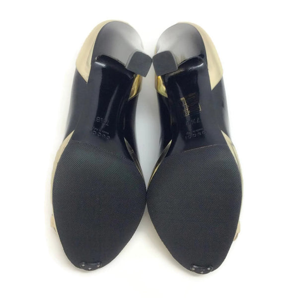Patent With Bamboo Bit Black / Gold Pumps by Gucci sole
