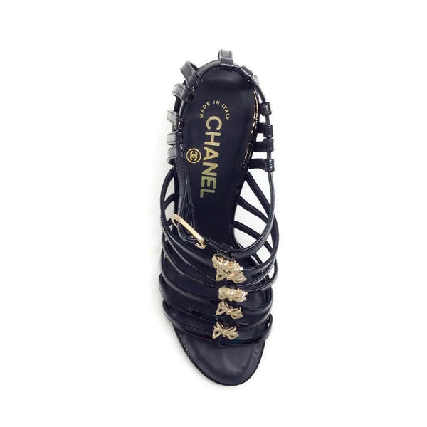 Bow Embellished Cage Sandals by Chanel top