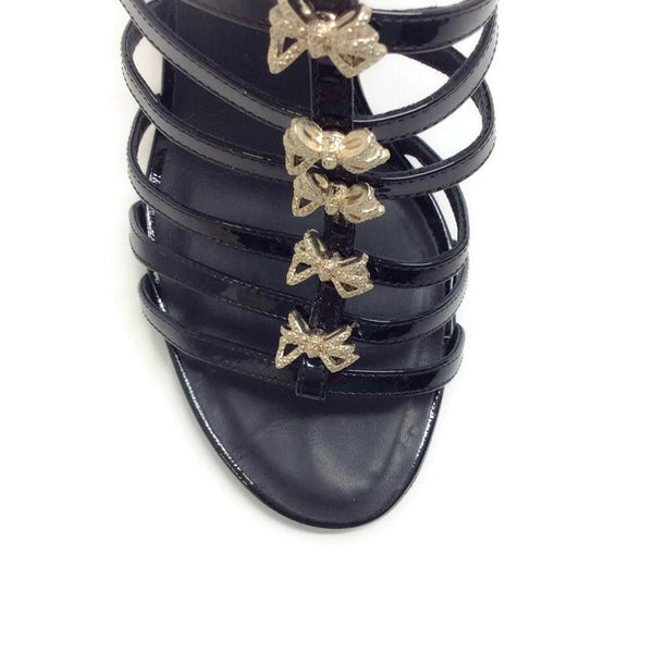 Bow Embellished Cage Sandals by Chanel toe