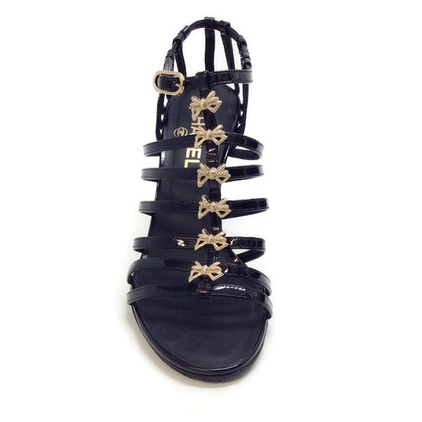 Bow Embellished Cage Sandals by Chanel front