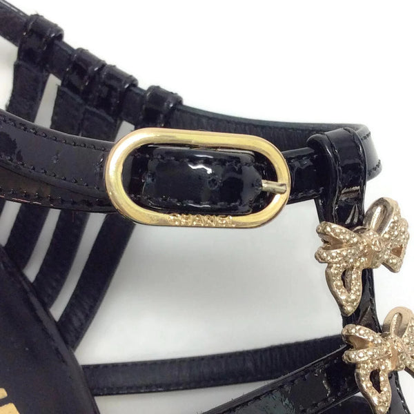 Bow Embellished Cage Sandals by Chanel buckle