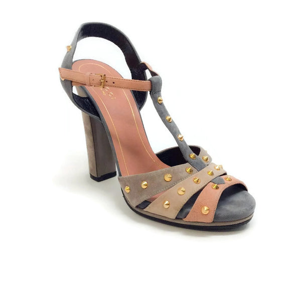 Jacquelyne Platform Suede Gray Sandals by Gucci
