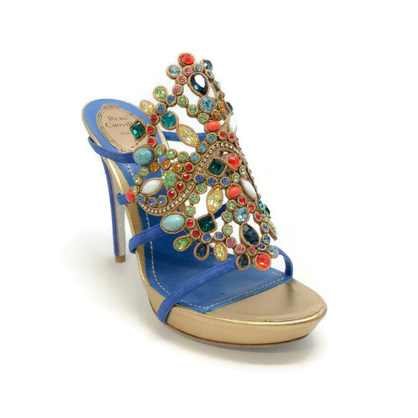 Jewel Embellished Platform Blue / Multi Sandals by Rene Caovilla