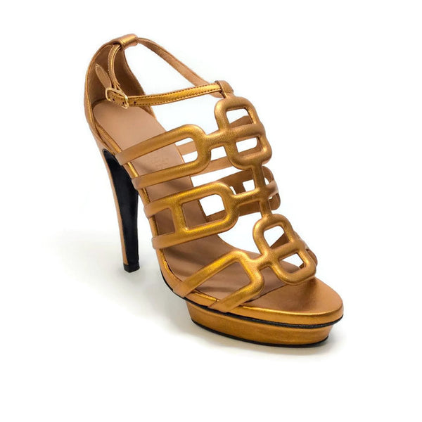 Cage Platform Bronze Sandals by Hermès