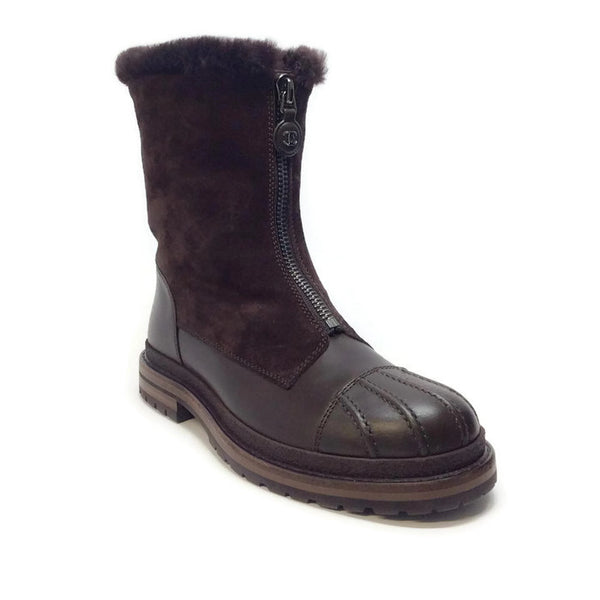 Shearling Lined Zip Up Brown Boots by Chanel