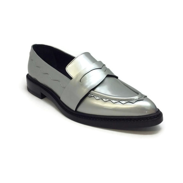 Silver Pointy Penny Loafer Flats by Christopher Kane