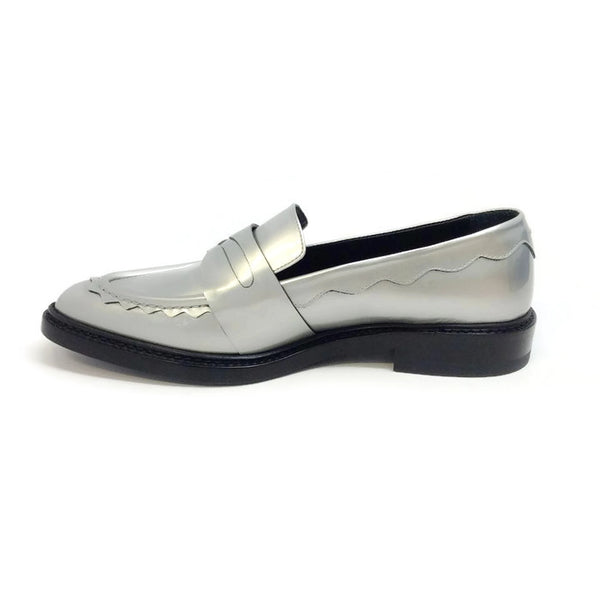 Silver Pointy Penny Loafer Flats by Christopher Kane inside