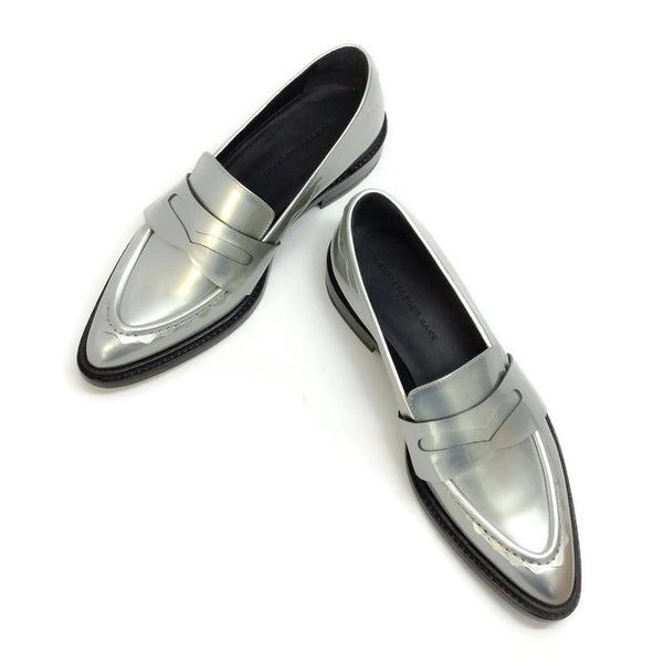 Silver Pointy Penny Loafer Flats by Christopher Kane pair