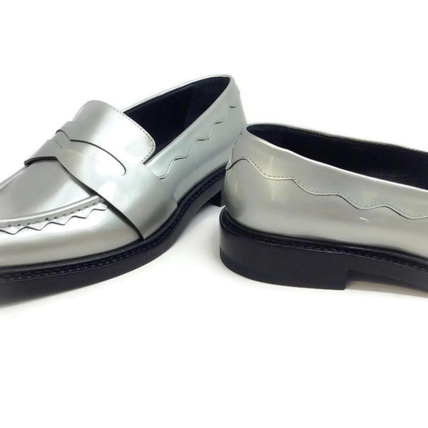 Silver Pointy Penny Loafer Flats by Christopher Kane heel