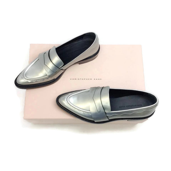 Silver Pointy Penny Loafer Flats by Christopher Kane with box