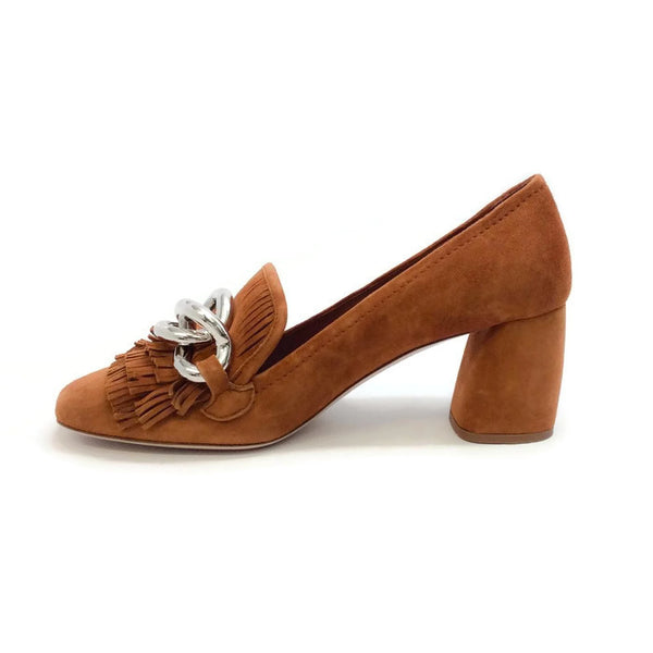 51570a Fringed Suede Cognac Pumps by Miu Miu inside