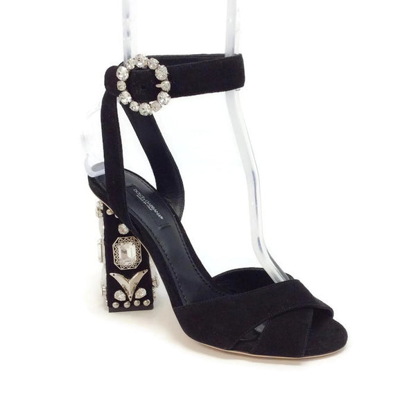 Jewel Embellished Sandal Black Suede by Dolce & Gabbana