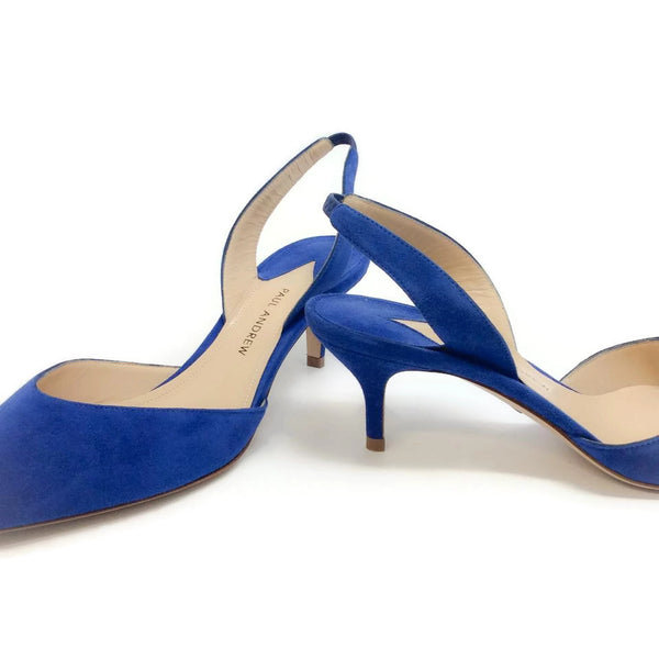 Rhea Suede Indigo Pumps by Paul Andrew