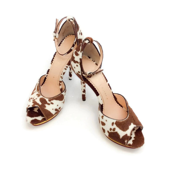 Pony Cow Sandal Brown / White Platforms by Charlotte Olympia pair