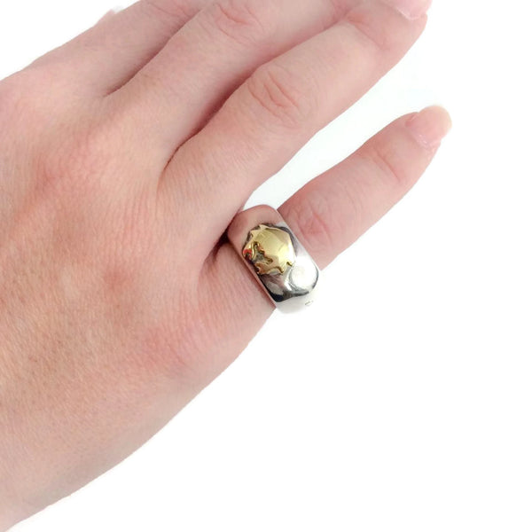 Sterling Silver and 18K Gold Zodiac Ring (Cancer) by Dodo