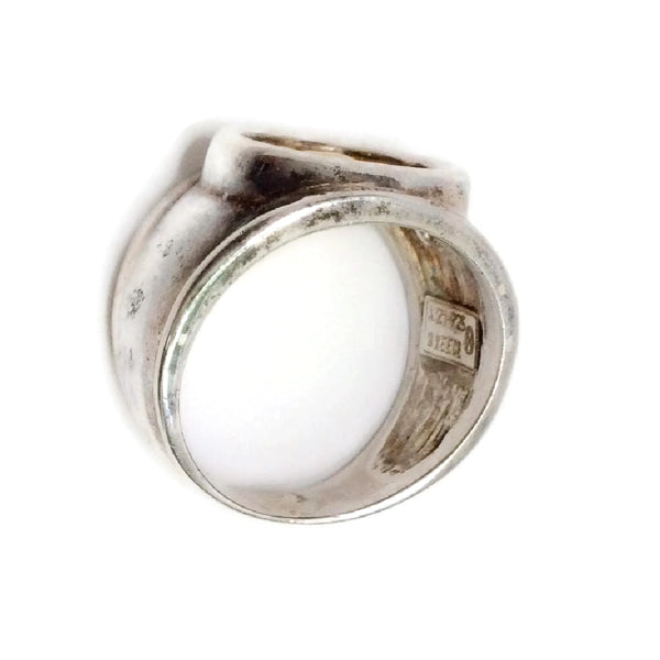 Sterling Silver Zodiac Ring With 18K Gold Inlay (Cancer) by Dodo