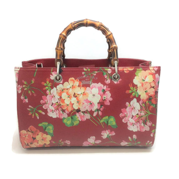 Blooms Bamboo Tote Red Satchel by Gucci