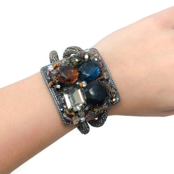 Chain Wrapped Coil Bracelet With Stones by Miriam Haskell
