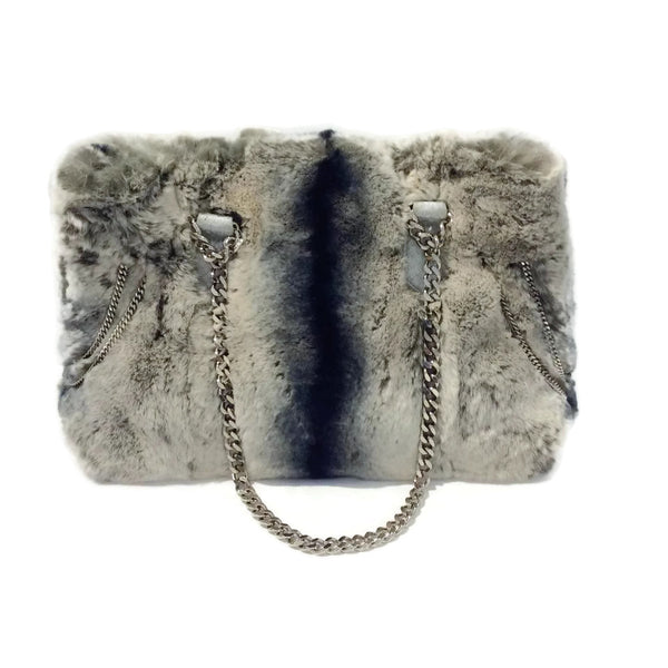 Fur Satchel With Chain Handles Shoulder Bag by Carlos Falchi