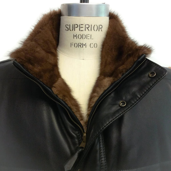 Leather and Mink Reversible Vest by Stefano Ricci