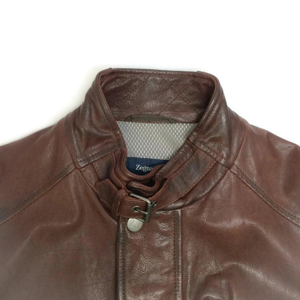 Leather Bomber Brown Leather Jacket by Zegna Sport