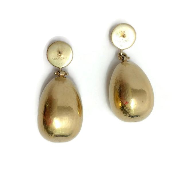 Hammered Gold Drop Earrings by Vaubel
