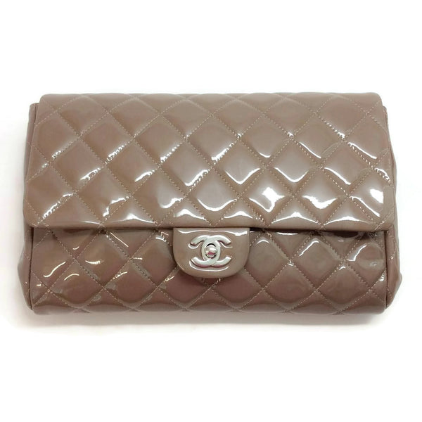 Flap Shoulder Bag Taupe Patent Leather by Chanel