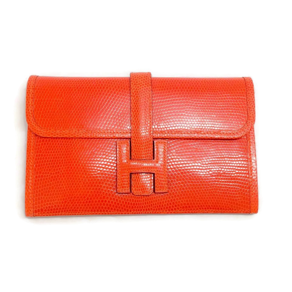 Mini Jige Orange Lizard Clutch by Hermes