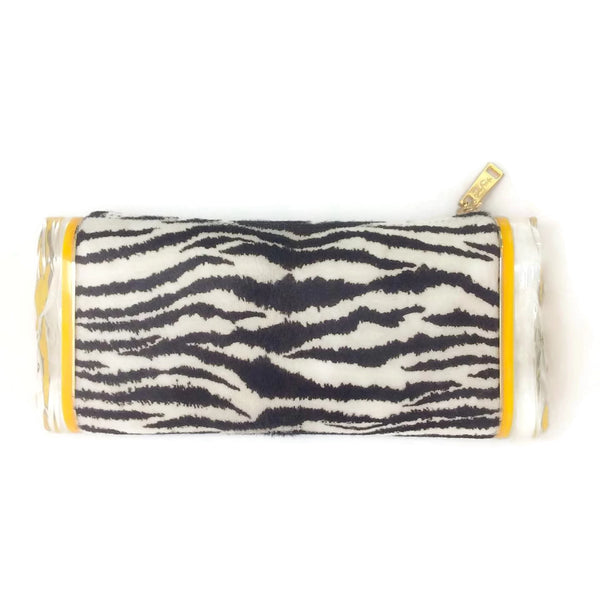 Edie Parker Soft Lara Calf Hair Zebra Clutch