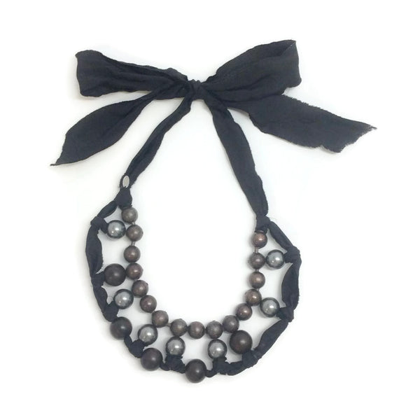 Lanvin Faux Pearl, Wooden Bead & Ribbon Necklace